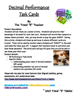 Common Core Aligned Decimal Performance Task Cards:  48 in all!