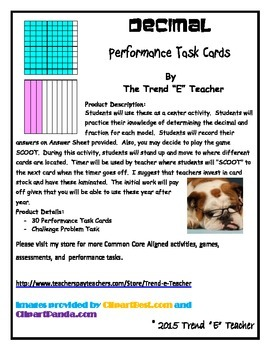 Common Core Aligned Decimal Task Cards Part One