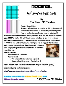 Common Core Aligned Decimal Task Cards Part Two