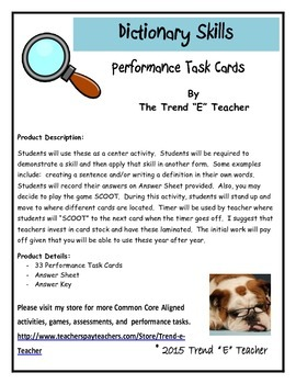 Common Core Aligned Dictionary Performance Task Cards