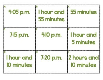 Common Core Aligned Elapsed Time Matching Cards