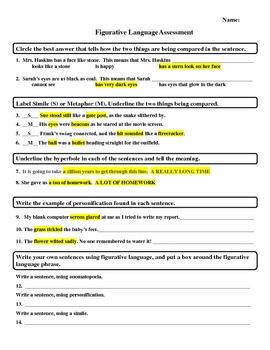Common Core Aligned Figurative Language Assessment