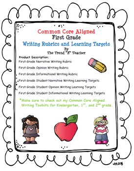 Common Core Aligned First Grade Writing Rubrics and Learning Target Checklists