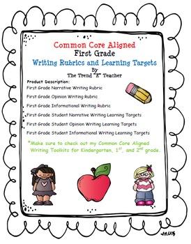 Common Core Aligned First Grade Writing Rubrics and Learni