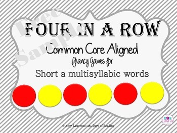 Common Core Aligned Fluency Four in a Row Games