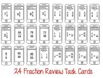 Common Core Aligned Fractions Review Cell Phone Task Cards 3.NF, 4.NF, 5.NF