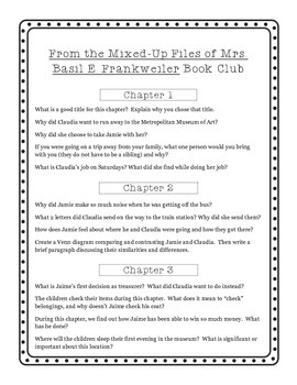 Common Core Aligned - From the Mixed Up Files of Mrs. Basil E. Frankweiler