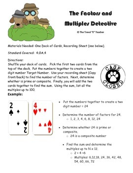 Common Core Aligned Game (4.OA.4): Factors and Multiples D