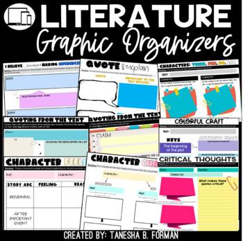 Common Core Aligned Reading Literature Graphic Organizers Grades 4-6