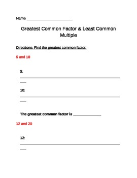 Common Core Aligned Greatest Common Factor and Least Common Multiple Worksheet
