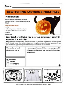 Common Core Aligned Halloween Math: Bewitching Factors & Multiples: Gr. 3-5