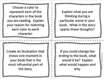 Higher Level Thinking Reading Comprehension Task Cards w/ Student Desk Reminders