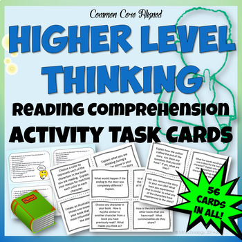 Higher Level Thinking Reading Comprehension Task Cards w/ Student Desk Reminders