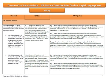 Common Core Aligned IEP Goal and Objective Bank Intermediate Grades 4-5