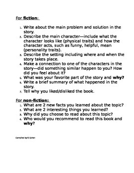 Common Core Aligned Independent Reading Responses