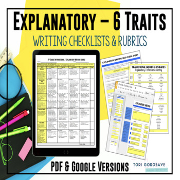 Common Core 6 Traits Explanatory Writing Rubrics for 6, 7, 8 {Google Resource}