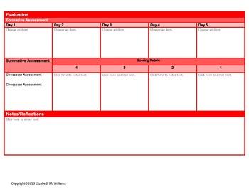 Common Core Aligned Interactive Lesson Plan Templates Primary  Language Arts K-3
