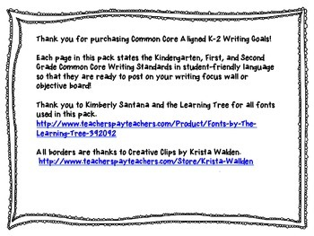 Common Core Aligned K-2 Writing Goals