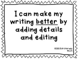 Common Core Aligned K-2 Writing Goals