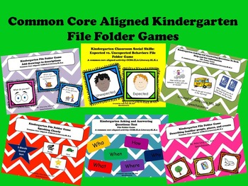 Common Core Aligned Kindergraten File Folder Games- Speaking & Listening