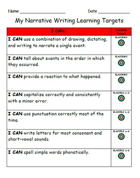 Common Core Aligned Kindergarten Writing Rubrics and Learning Target Checklists