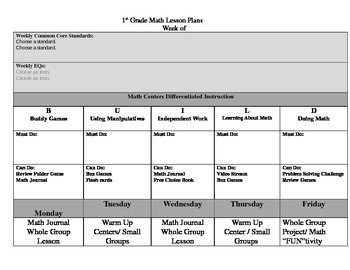 Common Core Aligned Lesson Plans WITH DROP DOWN MENUES