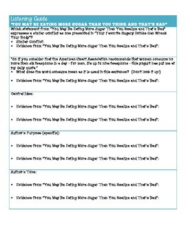 Common Core Aligned - Listening Guide - Synthesizing print