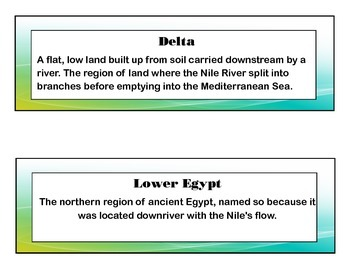 Ancient Egypt Common Core Aligned Literacy Cards (no images)