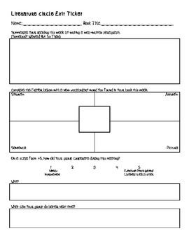 Common Core Aligned Literature Circle Bookmark Roles and Exit Ticket
