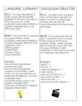Common Core Aligned Literature Circle Bookmark Roles and E