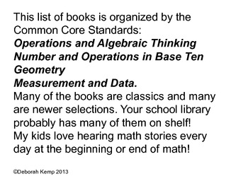 Common Core Aligned Literature for Elementary Math