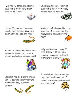 Common Core Aligned MATH Word Problems Gr.1-2