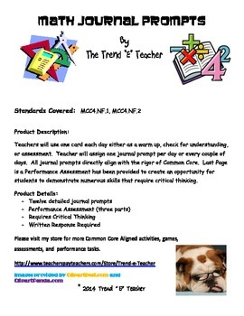 Common Core Aligned Math Journal Prompts:  NF.1 and NF.2