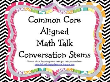Common Core Aligned Math Talk Conversation Stems
