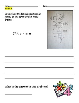 Common Core Aligned Math Warm Ups, Check-Ins, or Assessments NBT.6 and OA.3