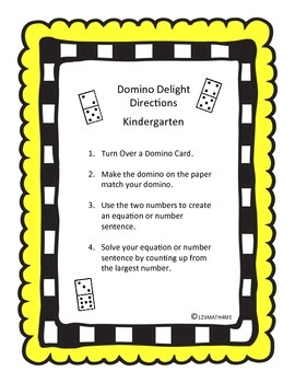 Math Workshop/Workstation Game - Domino Delight! K.OA.5 & 1.OA.6