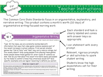 Common Core Aligned Middle Grades Argumentative Writing Morning Work
