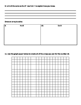 Common Core Aligned Multiplication Concepts Assessment