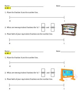 Common Core Aligned NF.1 Warm Ups or Performance Assessments