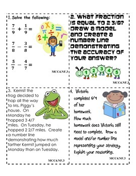 Common Core Aligned NF.3 Math Journal Prompts FREEBIE!!!