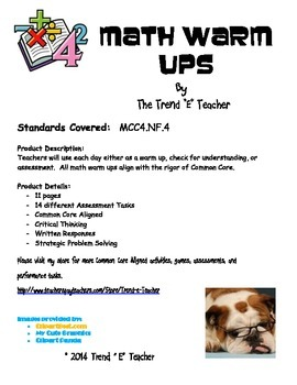 Common Core Aligned NF.4 Warm Ups, Assessment Tasks, or Mini-Lessons