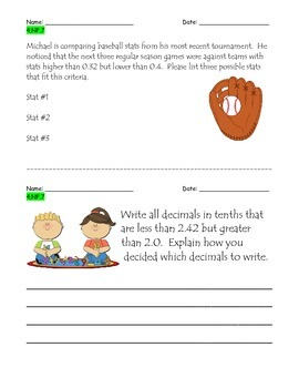 Common Core Aligned NF.7 Warm Ups/Performance Assessments
