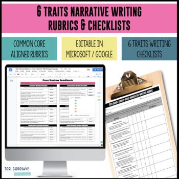 Common Core 6 Traits Narrative Writing Rubrics for 6, 7, 8 {Google Resource}