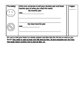 Common Core Aligned Nightly Reading Log