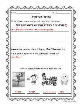 Common Core Aligned Noun Sentence Correction Activities with key