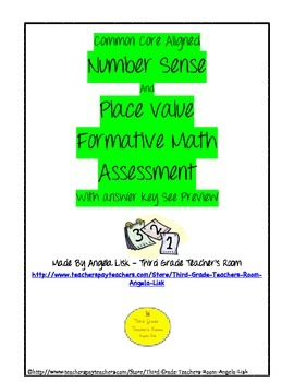 Common Core Aligned Number Sense And Place value Formative Math Assessment