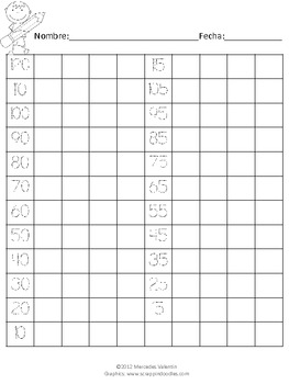 Common Core Aligned Number Writing Practice Sheet 1-120 & 120-1