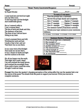 Poetry Constructed Responses, Writing Prompts - Common Core Aligned