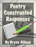 Poetry Constructed Responses, Writing Prompts - Common Cor