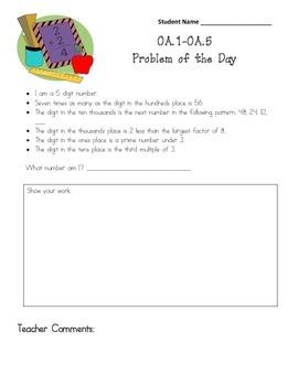 Common Core Aligned Problem of the Day:  OA.1 through OA.5, NBT.3, NBT.5
